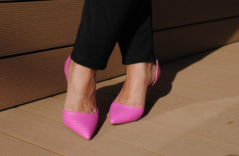 Jumpsuit Business Look pink Schuhe