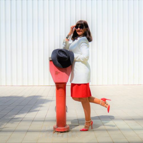 Rotes Etuikleid Lady 50plus