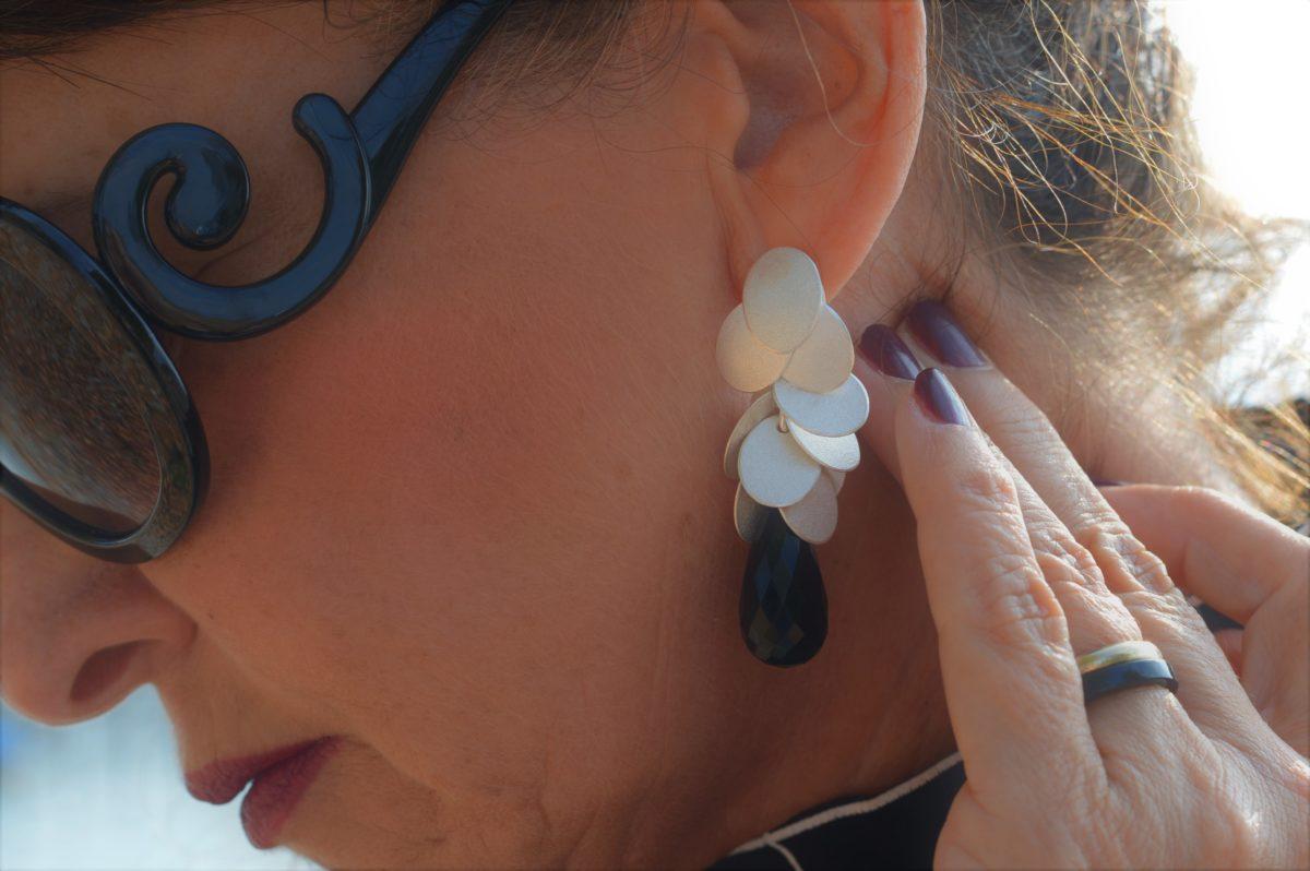 Ohrringe silber schwarz