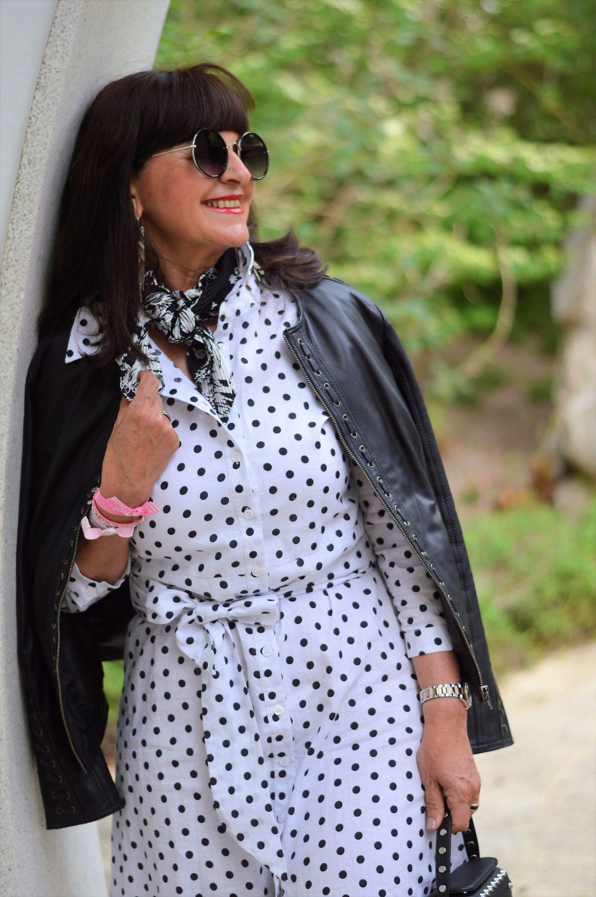 Hemdblusenkleid mit Polka Dots