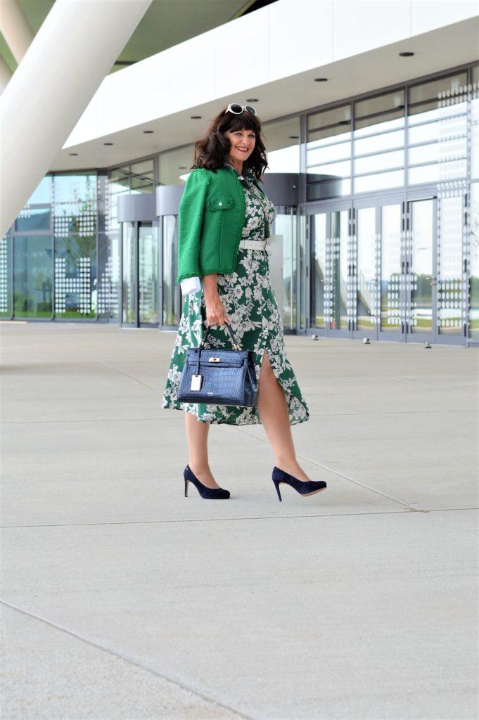 Kleid in grün weiss